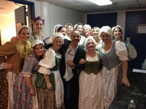 Some of the chorus ladies with our stage director Dean